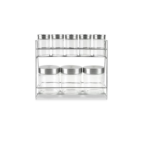 Gewürzregal Eleonore - Klar/Edelstahlfarben, KONVENTIONELL, Glas/Metall (27,3/9,6/23cm) - Mömax modern living