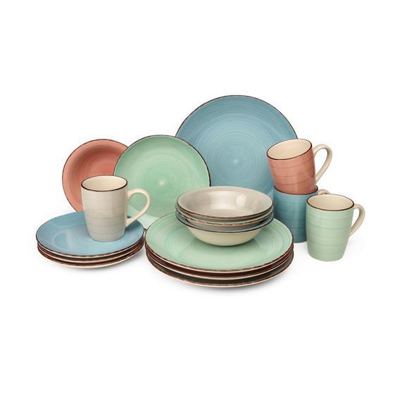 Serviciu De Masă Verona - albastru/verde mentă, Lifestyle, ceramică (28,5/30,2/23cm) - Modern Living