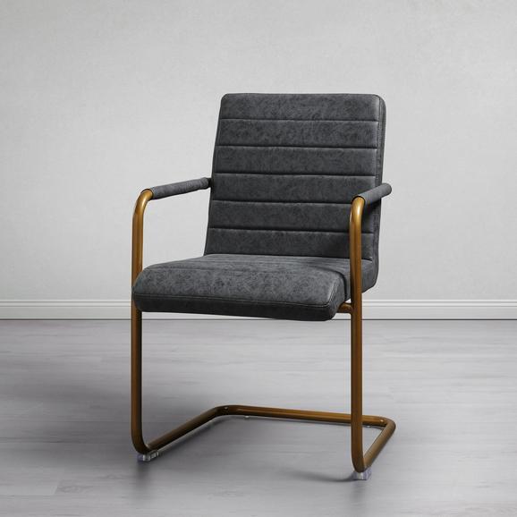 Schwingstuhl in Grau 'Juna' - Dunkelgrau/Goldfarben, MODERN, Textil/Metall (55/85/66cm) - Bessagi Home