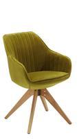 Naslanjač Chill - zelena/hrast, tekstil/les (60/83/50/65cm) - Modern Living