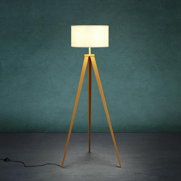 Stehleuchte Elaine - Weiß/Kieferfarben, MODERN, Textil/Metall (40/155cm) - Modern Living