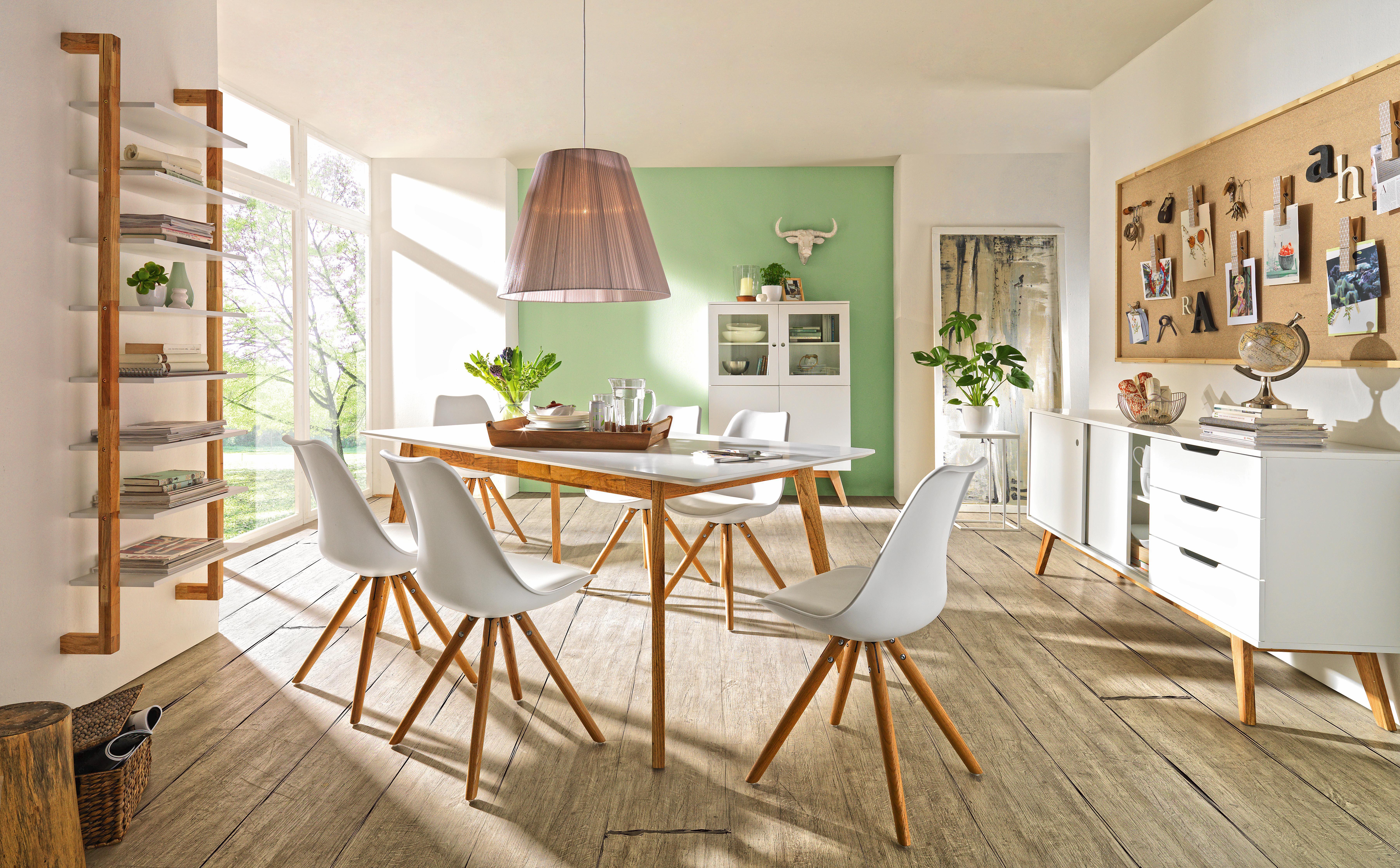 Stuhl in Weiß/Eiche - Eichefarben/Weiß, MODERN, Holz/Kunststoff (47/81/52cm) - MÖMAX modern living