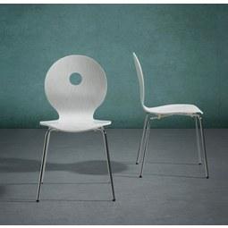 Stuhl Nahia - Chromfarben/Weiß, MODERN, Holz/Metall (48/85/48cm) - MODERN LIVING