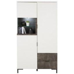 Highboard in Weiß/Graphitfarben - Graphitfarben/Weiß, MODERN, Glas/Holzwerkstoff (83/148/37cm) - Modern Living