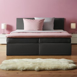 Boxspringbett in Grau ca. 180x 200 cm inkl. Topper 'Lucy' - Grau, MODERN, Holz/Textil (205/186/103cm) - Bessagi Home