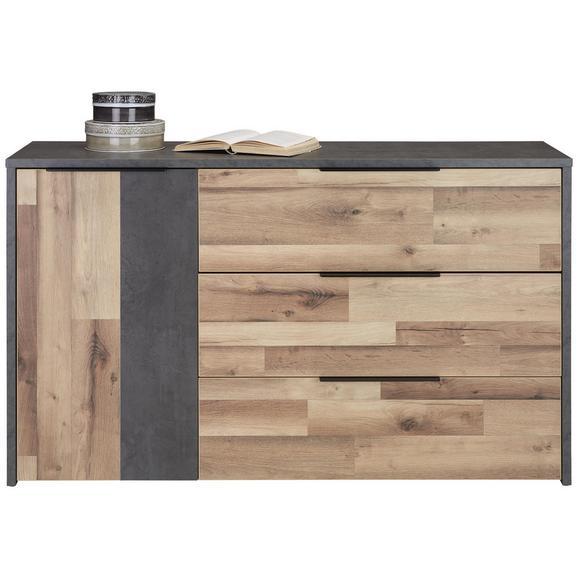 Kommode in Eichefarben - Dunkelgrau/Eichefarben, KONVENTIONELL, Holzwerkstoff/Kunststoff (139,5/82,4/41,5cm) - Modern Living