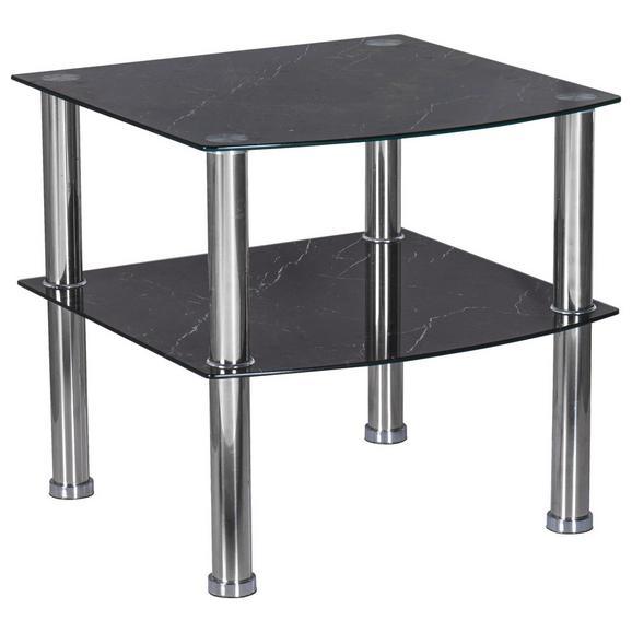 Masă Auxiliară Peter - culoare crom/negru, Modern, sticlă/metal (45/43/45cm)