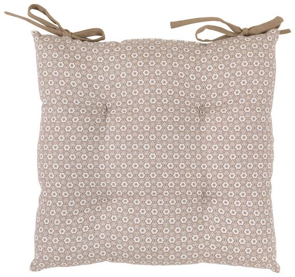 Sitzkissen Ameline in Taupe, ca. 40x40cm - Taupe, ROMANTIK / LANDHAUS, Textil (40/40cm) - Zandiara