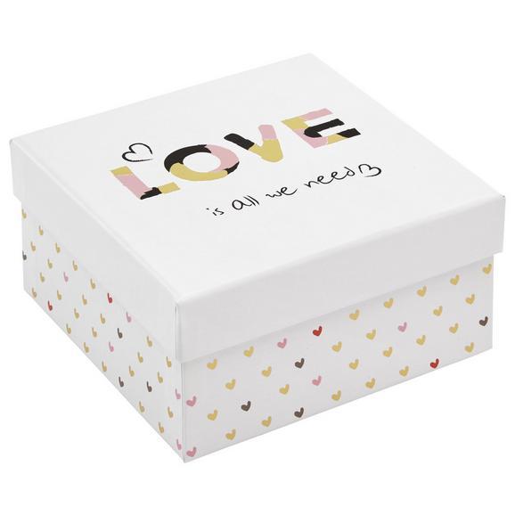 Tárolódoboz Love - Pink/Fehér, Basics, Karton (10/10/6cm)