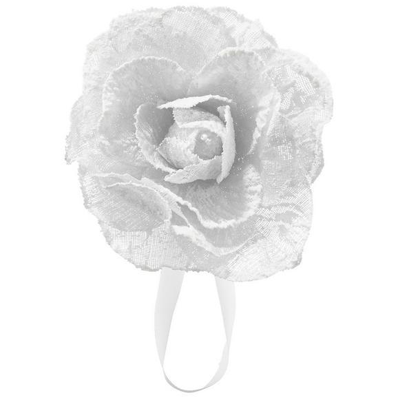 Raffhalter Rose in Weiß - Weiß, ROMANTIK / LANDHAUS, Textil (11cm) - Mömax modern living