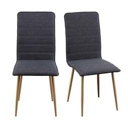 Stuhl in Dunkelgrau 'Cilia' - Dunkelgrau/Eichefarben, MODERN, Textil/Metall (45/91/56,50cm) - Bessagi Home