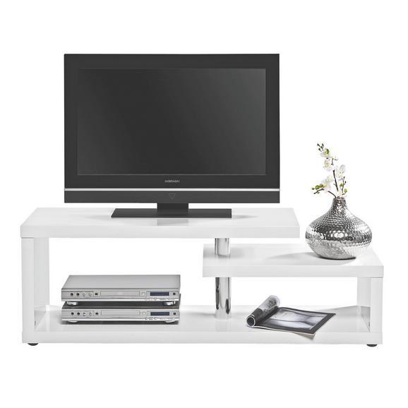 Phonotisch in Weiß Hochglanz - Alufarben/Weiß, LIFESTYLE, Holzwerkstoff/Kunststoff (130/45/40cm) - Mömax modern living