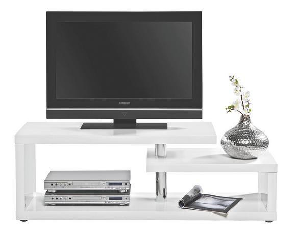 Phonotisch Weiß Hochglanz - Alufarben/Weiß, LIFESTYLE, Holzwerkstoff/Kunststoff (130/45/40cm) - Mömax modern living