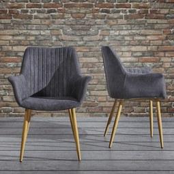Armlehnstuhl Samantha - Dunkelgrau, MODERN, Holz/Textil (59/82/65cm) - Mömax modern living