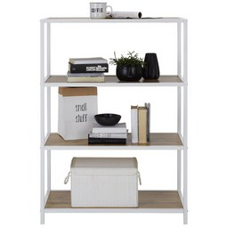 Regal in Weiß/Eichefarben - Eichefarben/Weiß, MODERN, Holzwerkstoff/Metall (80/113/40cm) - Modern Living