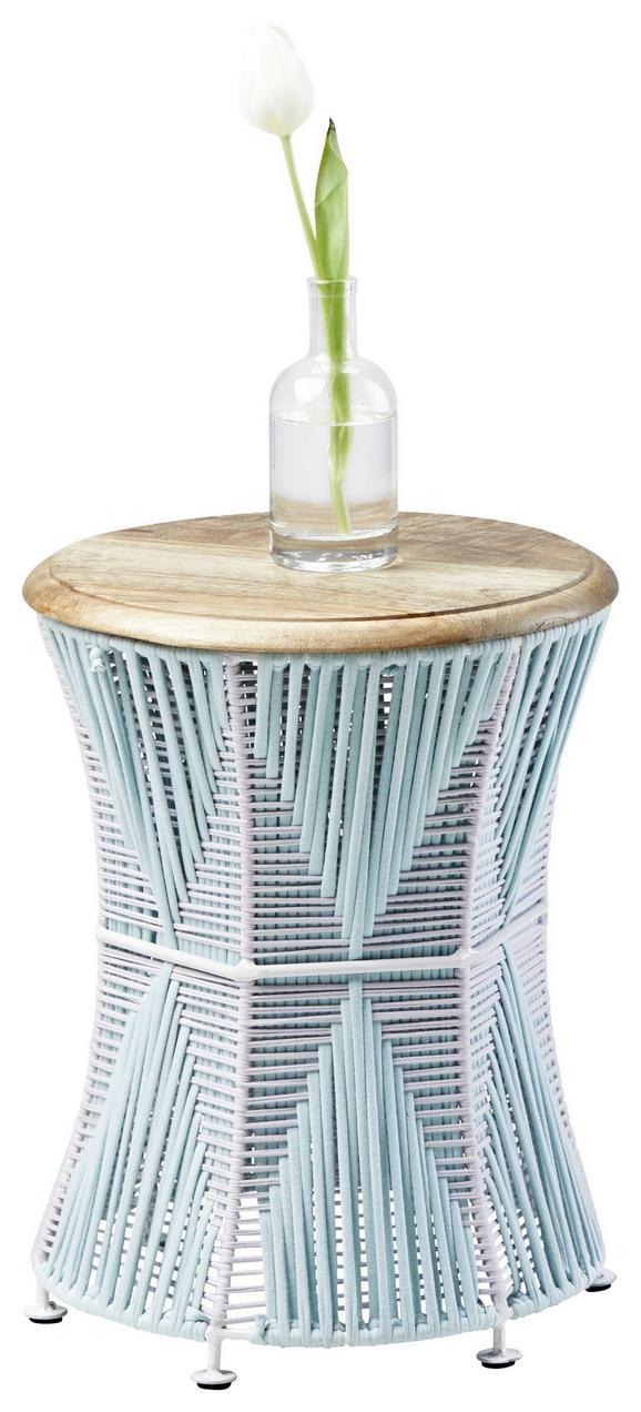 Beistelltisch aus Mangoholz - Multicolor/Weiß, LIFESTYLE, Holz/Textil (30/40/30cm)