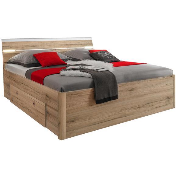 Pat Mars - alb/culoare lemn stejar, Modern, compozit lemnos (185/97/205cm)