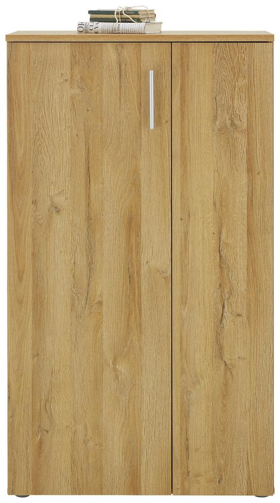Kommode Eichefarben - Eichefarben/Alufarben, MODERN, Holzwerkstoff/Kunststoff (69/120/34cm) - MÖMAX modern living
