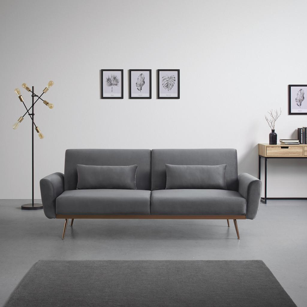 Sofa mit Schlaffunktion in Grau mit Holzrahmen 'Guilia'