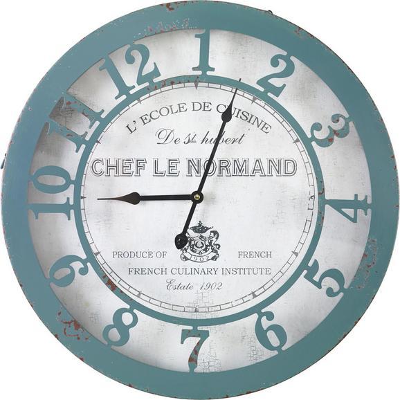Uhr Normandie ca.Ø50cm - Blau/Weiß, MODERN, Glas/Papier (50/6cm) - Bessagi Home