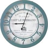 Uhr Normandie in Blau/ Weiss ca.Ø50cm - Blau/Weiß, MODERN, Glas/Papier (50/6cm) - Bessagi Home