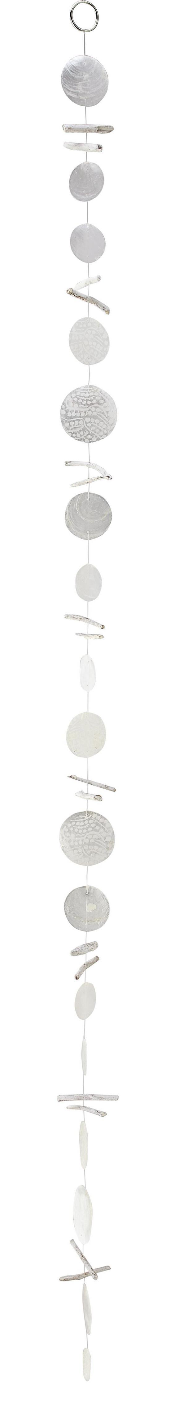 Girlande Carina in Weiß - Weiß, ROMANTIK / LANDHAUS, Holz/Weitere Naturmaterialien (180cm)