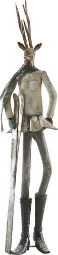 Dekohirsch Skihaserl H ca. 88,3 cm - Silberfarben, MODERN, Metall (23,5/21/88,3cm) - Mömax modern living