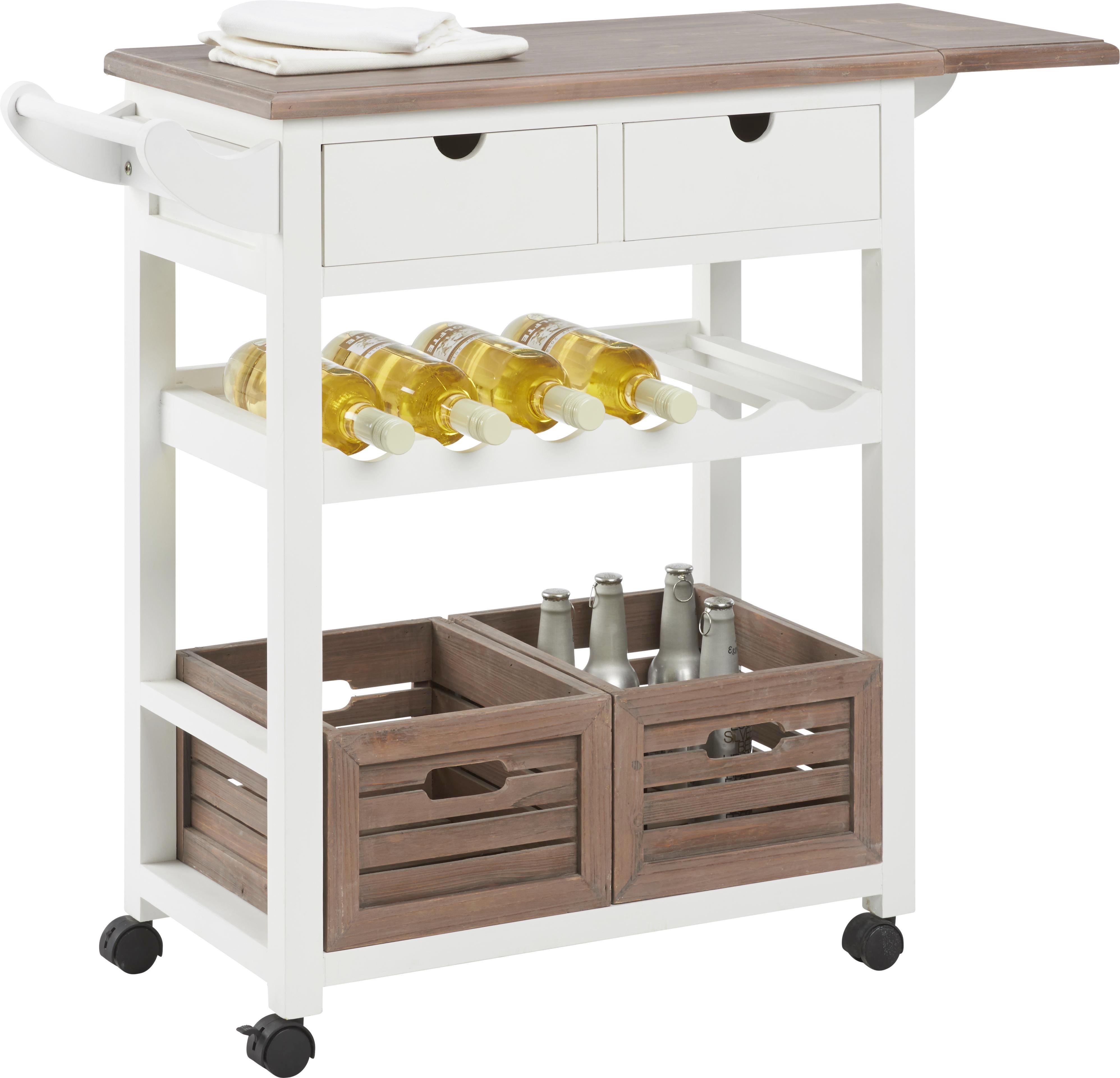Küchenwagen Cookie - Braun/Weiß, Holz/Holzwerkstoff (85/82/36cm) - PREMIUM LIVING