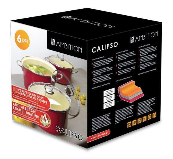 Főzőedény Szett Ambition Calypso Piros - piros/áttetsző, konvencionális, üveg (25/27,5/25cm)