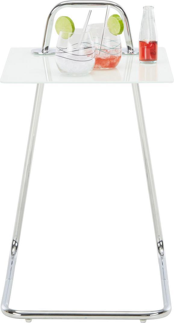 Beistelltisch in Weiß/Chrom - Chromfarben/Weiß, Glas/Metall (45/55/40cm)