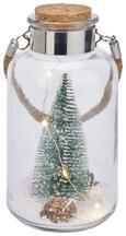 LED-Dekoleuchte Lukas mit Baum - Glas/Kunststoff (10/10/20cm)