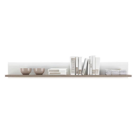 Polica Zidna Linate - bijela/boje tartuf hrasta, drvni materijal (150/20/20cm)