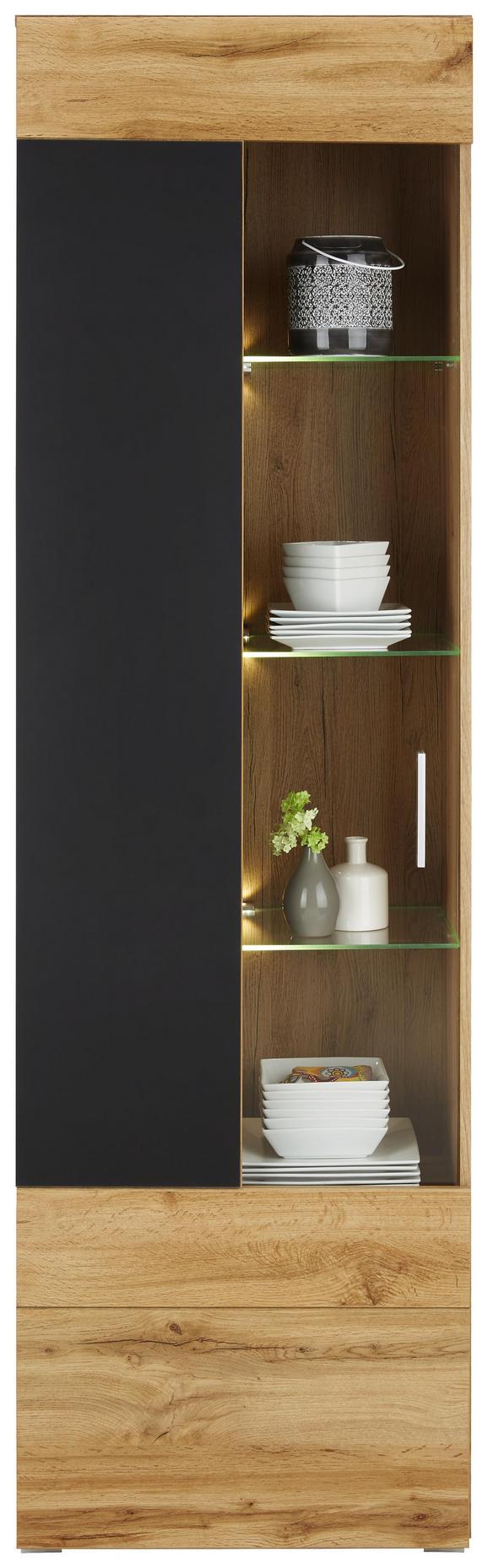 Vitrine in Eichefarben - Chromfarben/Eichefarben, MODERN, Glas/Holzwerkstoff (60/202/37cm) - Modern Living