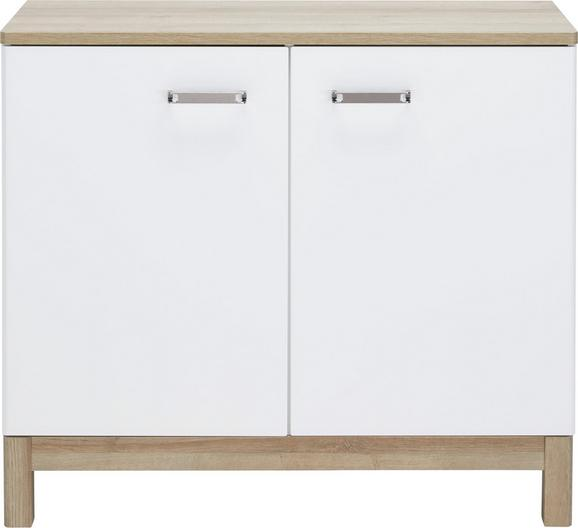 Kommode Weiß/Eichefarben - Chromfarben/Eichefarben, MODERN, Holzwerkstoff/Metall (100/88/42cm) - MÖMAX modern living