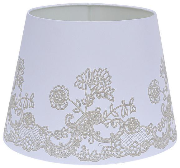 Leuchtenschirm Camilla in Weiß - Weiß, ROMANTIK / LANDHAUS, Textil/Metall (16,5-20/15,6cm) - MÖMAX modern living