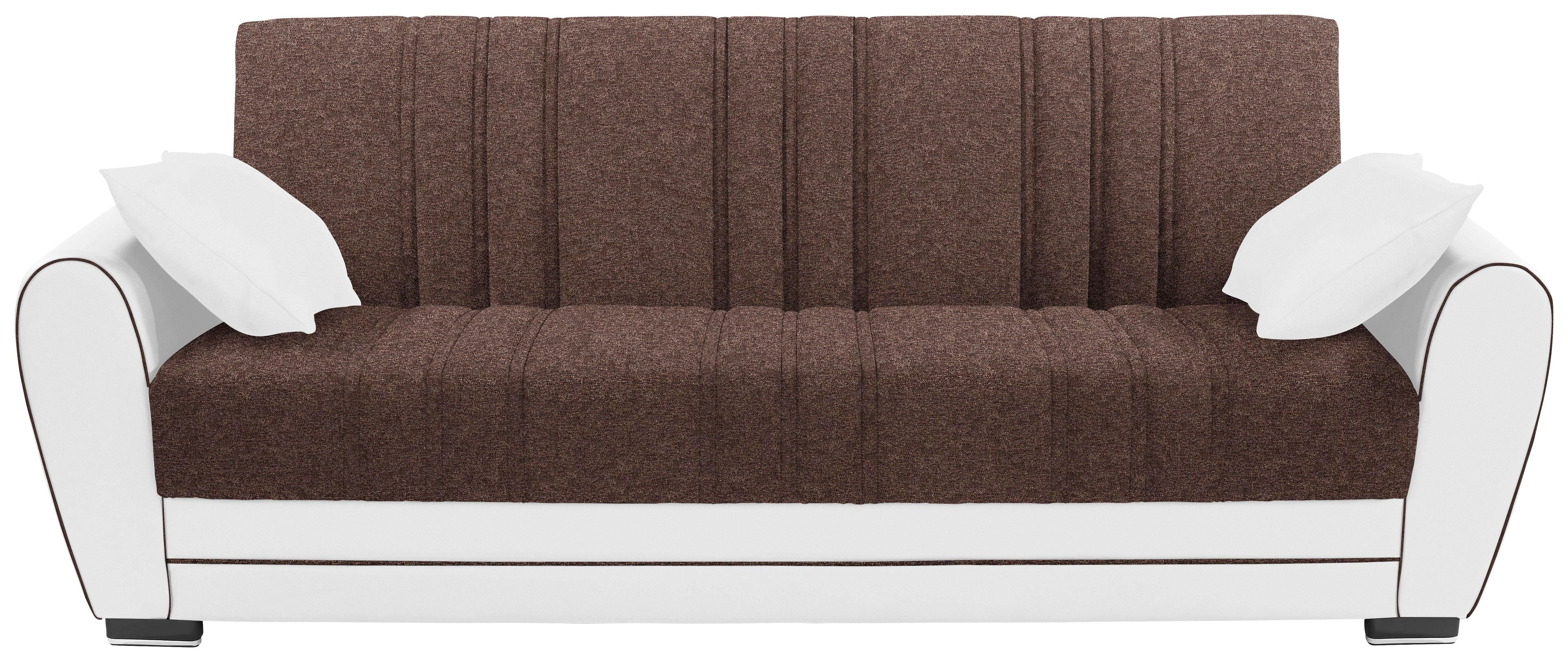 Kanapéágy Pelin - barna/fehér, textil (235/85/90cm) - JAMES WOOD