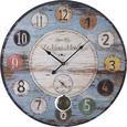 Uhr Moulin ca.Ø58cm - Multicolor, MODERN, Holz/Papier (58cm) - Bessagi Home