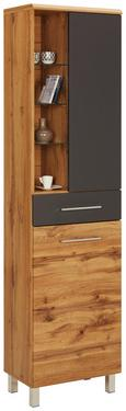 Hochschrank Anthrazit/Eichefarben - Chromfarben/Eichefarben, MODERN, Glas/Holzwerkstoff (50 194 33cm) - Premium Living