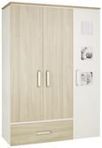 Kleiderschrank Weiß/Naturfarben - Silberfarben, KONVENTIONELL, Holzwerkstoff/Metall (135/193/55cm) - Premium Living