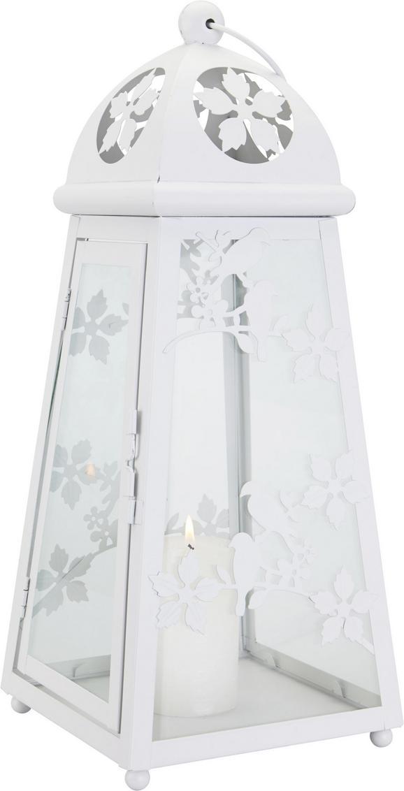 Laterne Helga in Weiß aus Metall/Glas - Weiß, ROMANTIK / LANDHAUS, Glas/Metall (18,5/18,5/43,5cm) - MÖMAX modern living