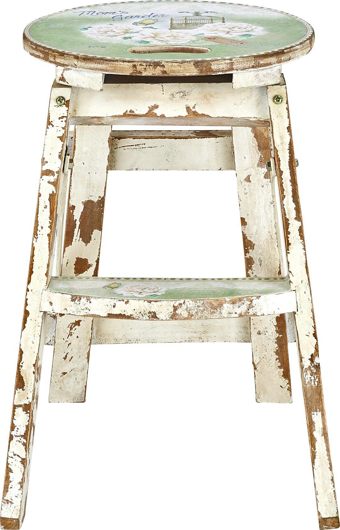Klapphocker in Weiß/Grün - Multicolor/Hellgrün, ROMANTIK / LANDHAUS, Holz/Holzwerkstoff (30/30/43cm) - MÖMAX modern living