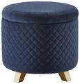 Hocker Joris mit Stauraum - Blau/Pinienfarben, MODERN, Holz/Textil (45/50cm) - Modern Living