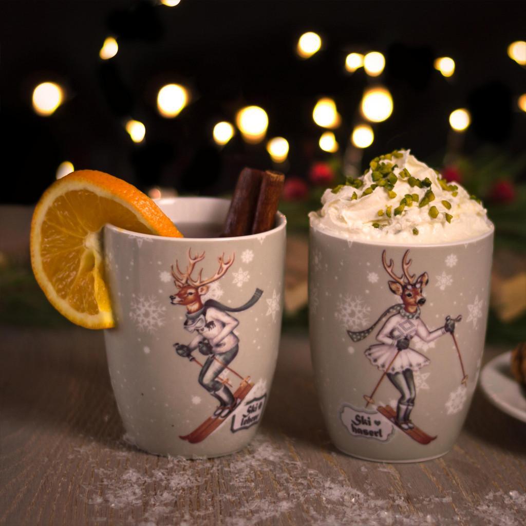 """Kaffeebecherset aus Porzellan 2-teilig """"Skilehrer"""""""