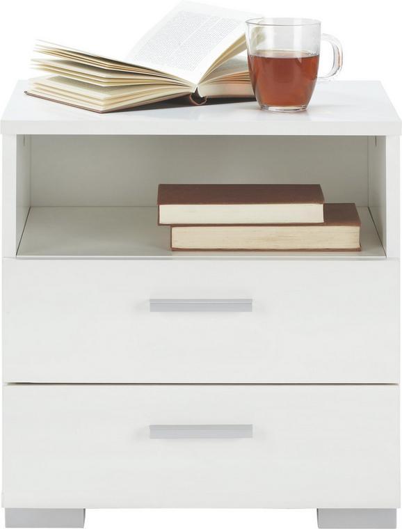 Nachtkästchen in Weiß - Alufarben/Weiß, Holz/Kunststoff (45/47/35cm) - Modern Living