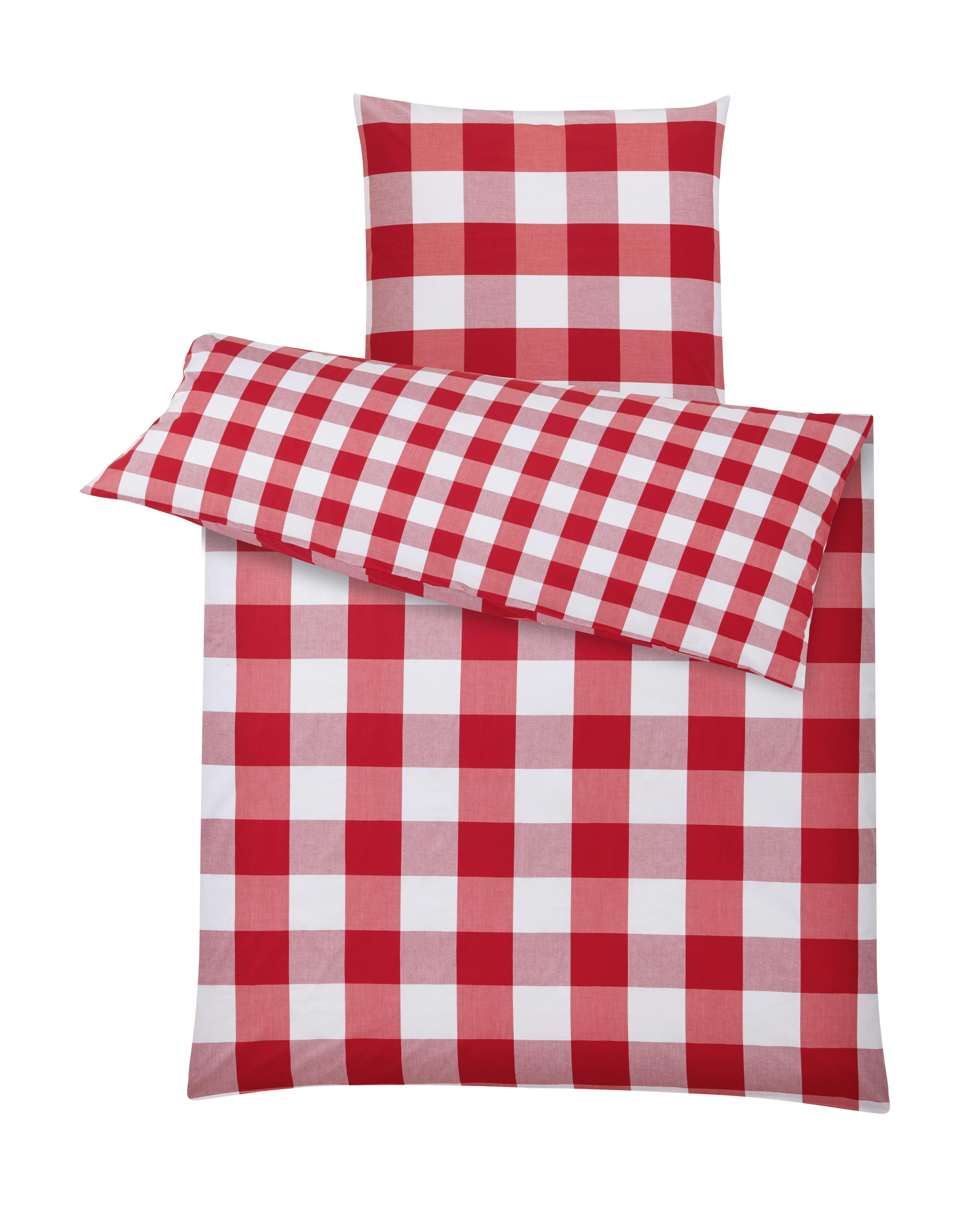 Bettwäsche Zams in Rot/Weiß ca. 135x200cm - Rot/Weiß, ROMANTIK / LANDHAUS, Textil - ZANDIARA