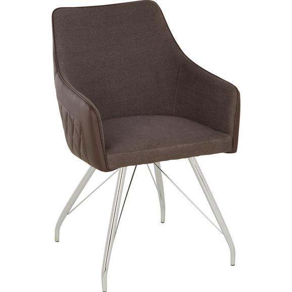 Stuhl in Braun - Chromfarben/Braun, MODERN, Textil/Metall (54/85,5/64cm) - Modern Living