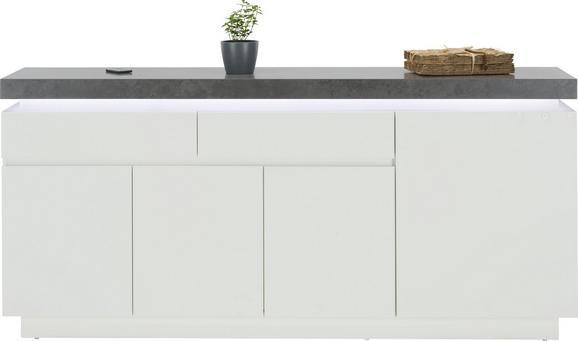 Sideboard Weiß/Betonoptik - Weiß/Grau, MODERN, Holzwerkstoff (175/81/40cm) - Premium Living