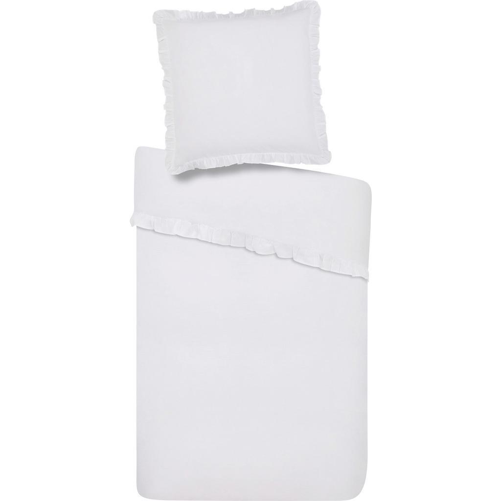 Bettwäsche Rüschen in Weiß, ca. 135x200cm