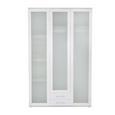 Kombischrank in Weiß - Silberfarben/Weiß, KONVENTIONELL, Glas/Holzwerkstoff (136/210/58cm) - Premium Living