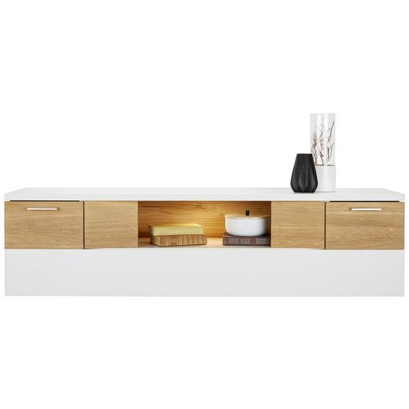 Hängeelement aus Eiche Massiv - Edelstahlfarben/Eichefarben, MODERN, Holzwerkstoff/Metall (150/39/40cm) - Premium Living